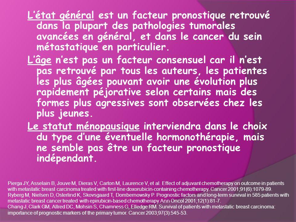 L'état général est un facteur pronostique retrouvé dans la plupart des pathologies tumorales avancées en général, et dans le cancer du sein métastatiq