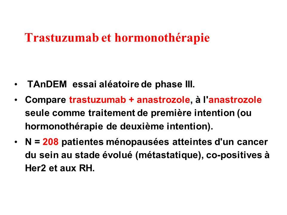 Trastuzumab et hormonothérapie TAnDEM essai aléatoire de phase III.