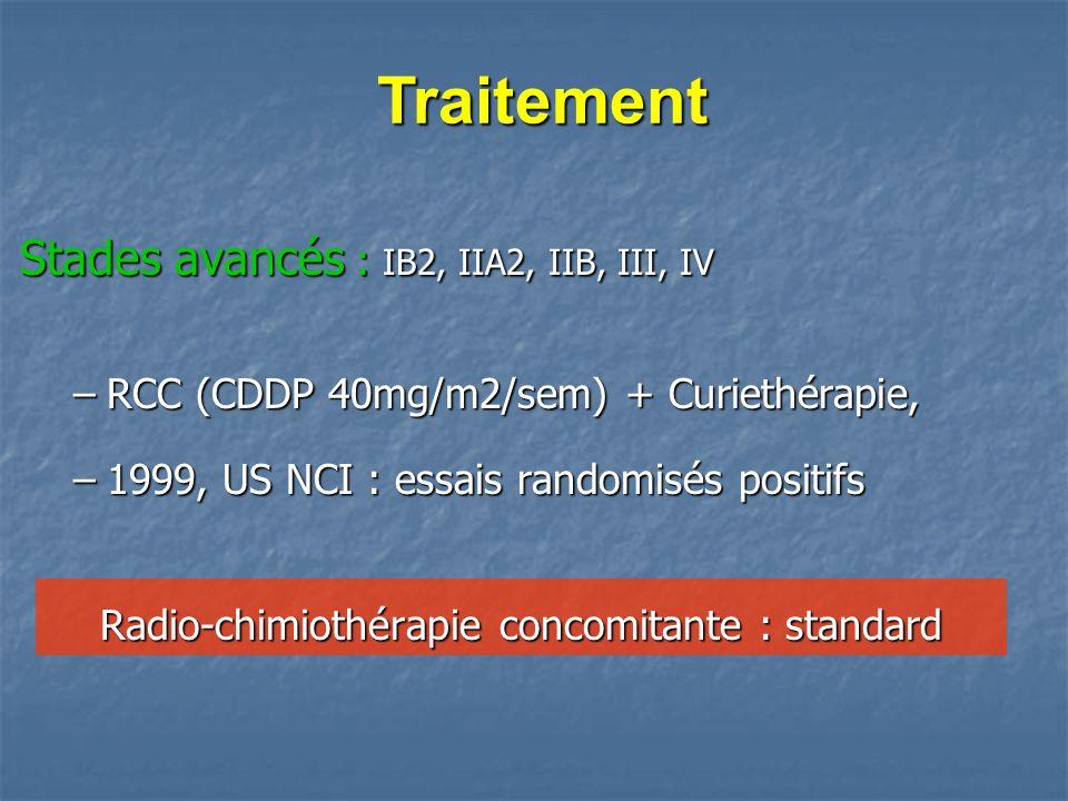 Stades avancés : IB2, IIA2, IIB, III, IV –RCC (CDDP 40mg/m2/sem) + Curiethérapie, –1999, US NCI : essais randomisés positifs Traitement Traitement Rad