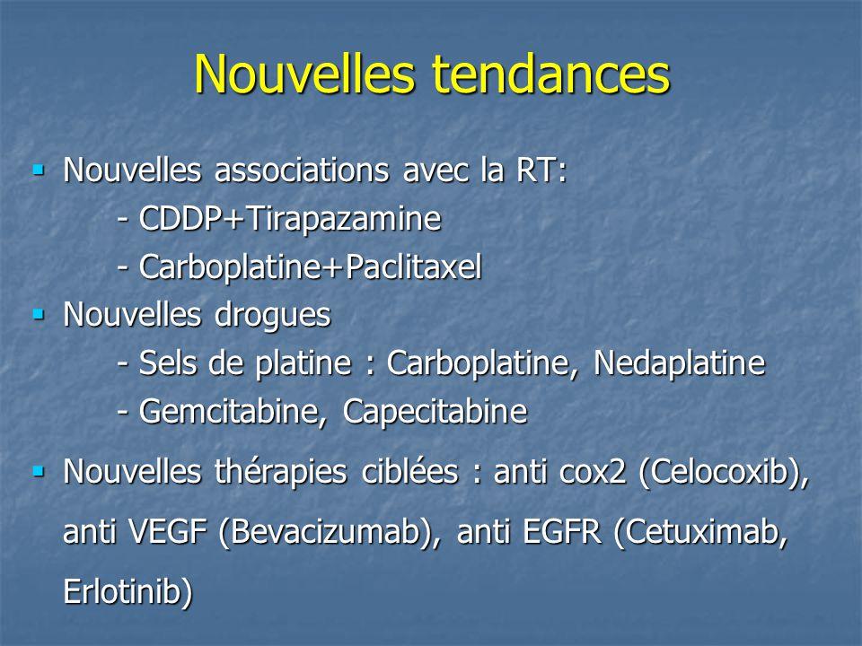 Nouvelles tendances  Nouvelles associations avec la RT: - CDDP+Tirapazamine - Carboplatine+Paclitaxel  Nouvelles drogues - Sels de platine : Carbopl