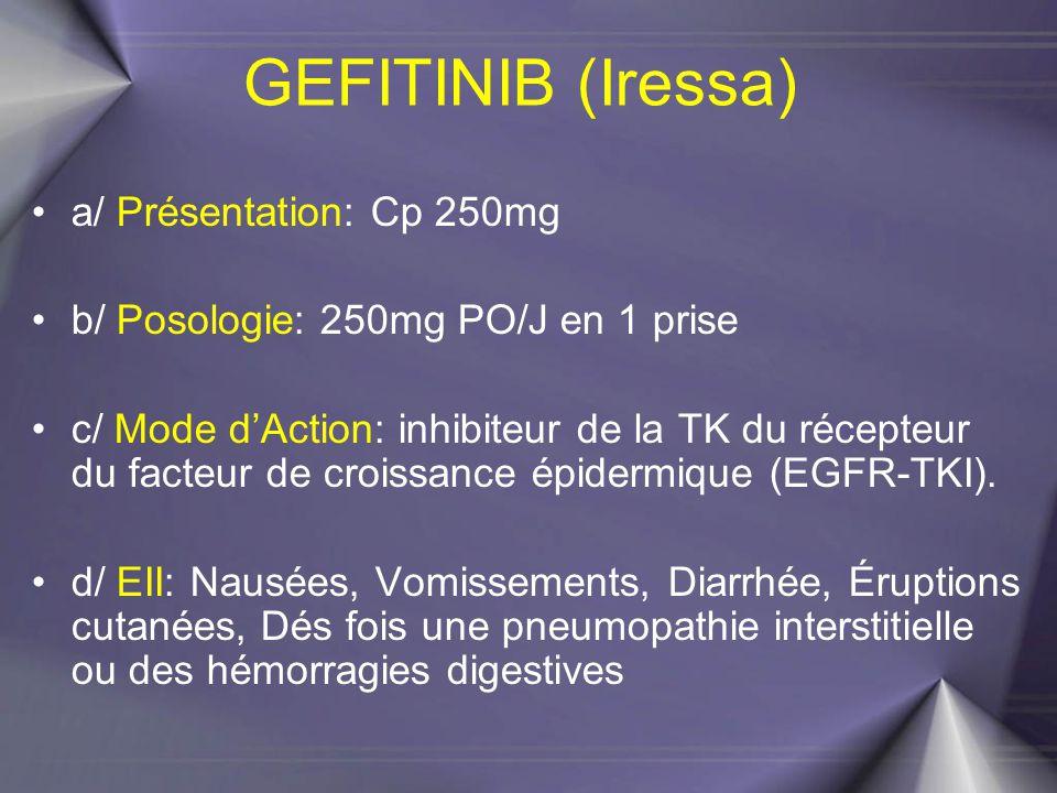 GEFITINIB (Iressa) a/ Présentation: Cp 250mg b/ Posologie: 250mg PO/J en 1 prise c/ Mode d'Action: inhibiteur de la TK du récepteur du facteur de croi