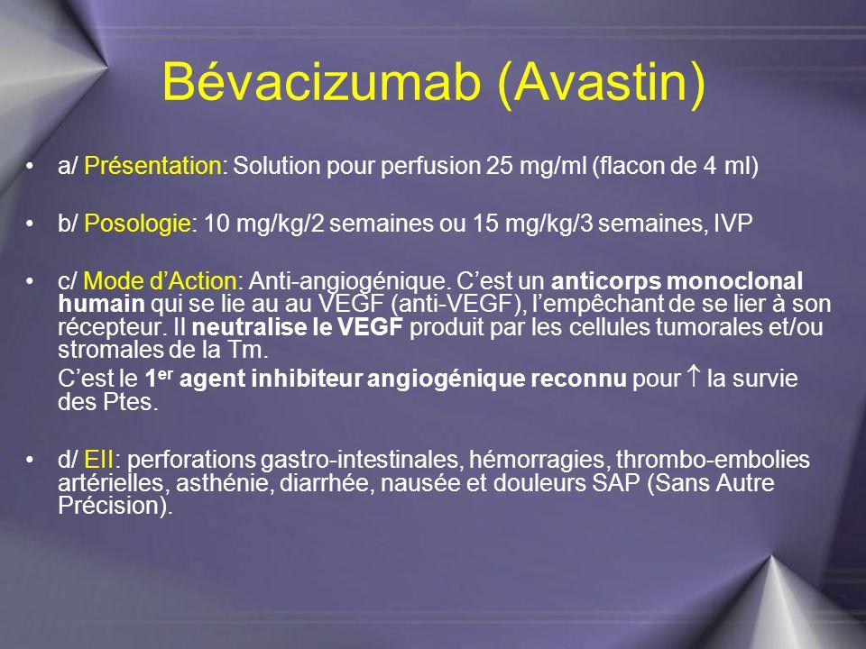 Bévacizumab (Avastin) a/ Présentation: Solution pour perfusion 25 mg/ml (flacon de 4 ml) b/ Posologie: 10 mg/kg/2 semaines ou 15 mg/kg/3 semaines, IVP