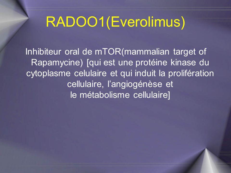 RADOO1(Everolimus) Inhibiteur oral de mTOR(mammalian target of Rapamycine) [qui est une protéine kinase du cytoplasme celulaire et qui induit la proli