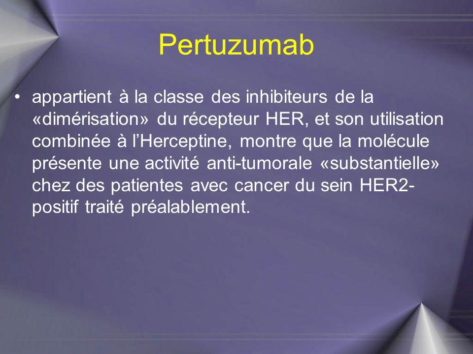 Pertuzumab appartient à la classe des inhibiteurs de la «dimérisation» du récepteur HER, et son utilisation combinée à l'Herceptine, montre que la mol