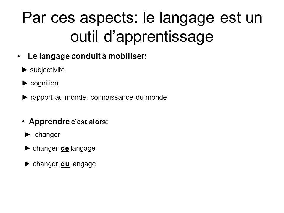 Par ces aspects: le langage est un outil d'apprentissage Le langage conduit à mobiliser: ► subjectivité ► cognition ► rapport au monde, connaissance d
