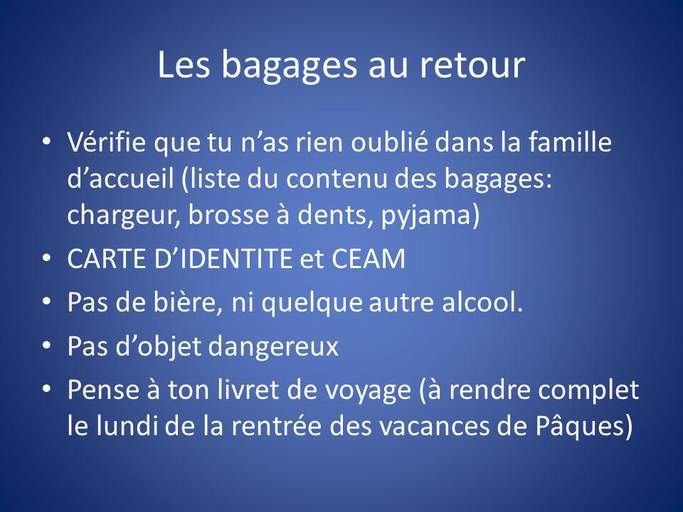 Les bagages au retour Vérifie que tu n'as rien oublié dans la famille d'accueil (liste du contenu des bagages: chargeur, brosse à dents, pyjama) CARTE