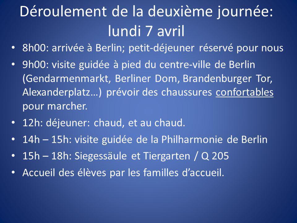 Déroulement de la deuxième journée: lundi 7 avril 8h00: arrivée à Berlin; petit-déjeuner réservé pour nous 9h00: visite guidée à pied du centre-ville