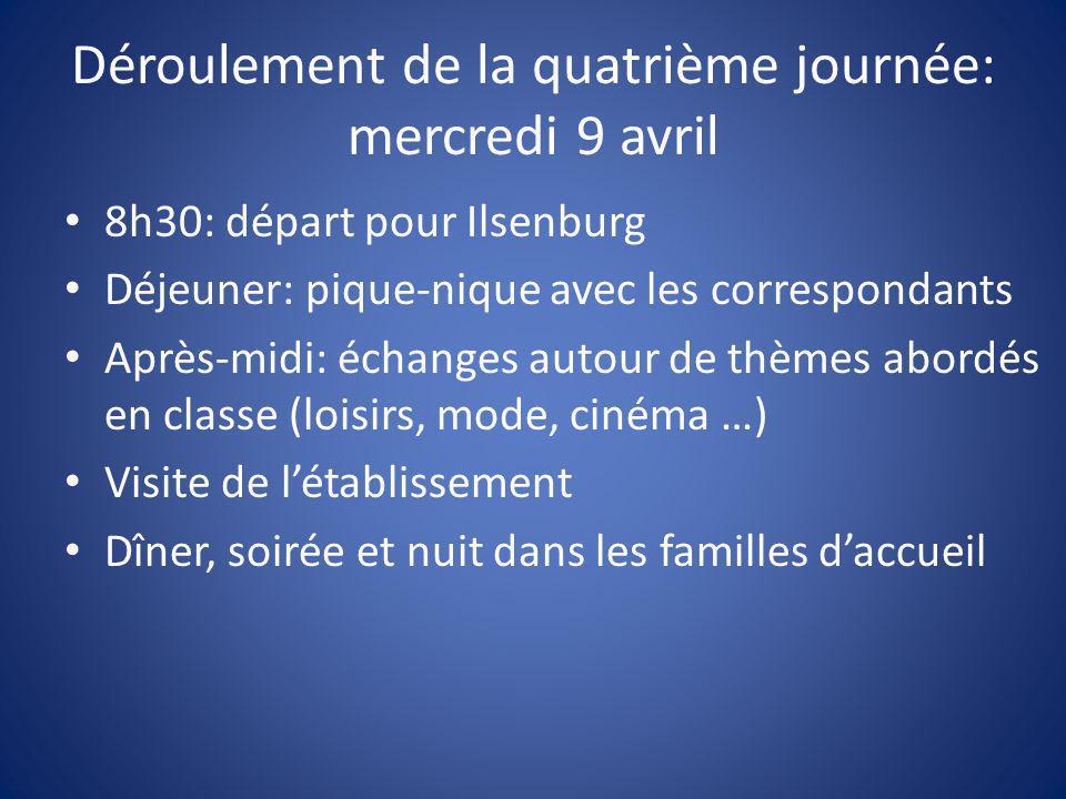 Déroulement de la cinquième journée: jeudi 10 avril 8h30: départ avec ses bagages et son pique-nique; adieux à la famille d'accueil.