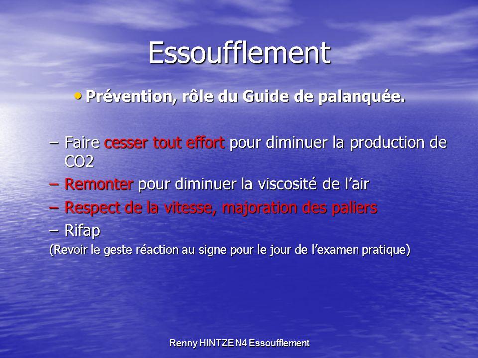 Renny HINTZE N4 Essoufflement Essoufflement Prévention, rôle du Guide de palanquée. Prévention, rôle du Guide de palanquée. –Faire cesser tout effort
