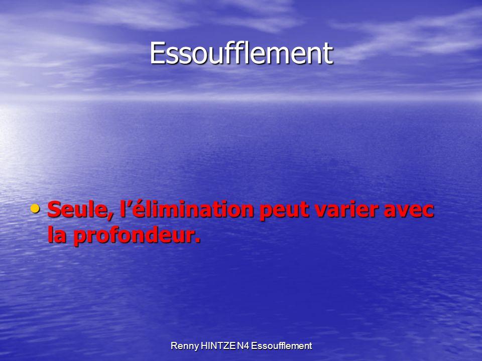 Renny HINTZE N4 Essoufflement Essoufflement Seule, l'élimination peut varier avec la profondeur. Seule, l'élimination peut varier avec la profondeur.