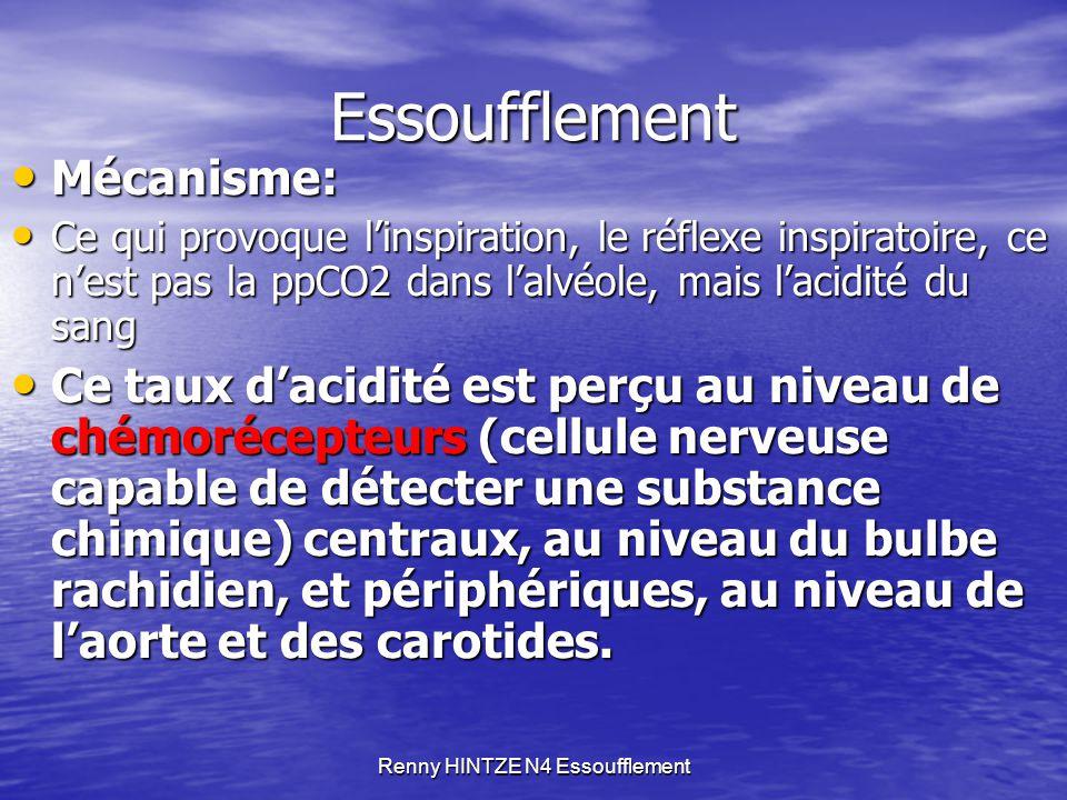 Renny HINTZE N4 Essoufflement Essoufflement Mécanisme: Mécanisme: Ce qui provoque l'inspiration, le réflexe inspiratoire, ce n'est pas la ppCO2 dans l
