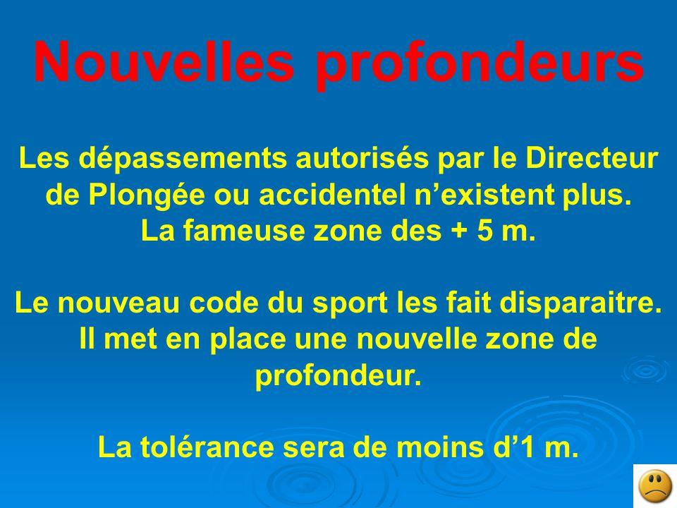 Nouvelles profondeurs Les dépassements autorisés par le Directeur de Plongée ou accidentel n'existent plus.
