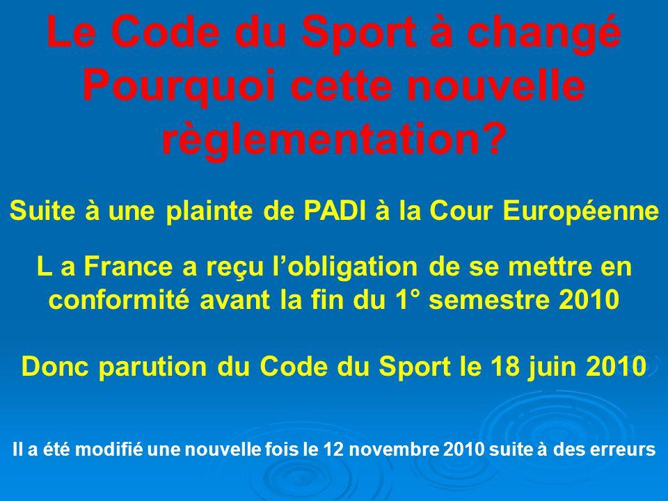 Le Code du Sport à changé Pourquoi cette nouvelle règlementation.