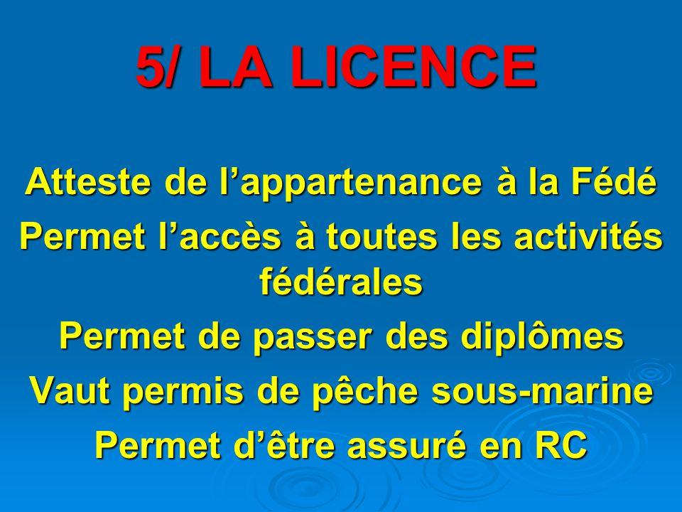 5/ LA LICENCE Atteste de l'appartenance à la Fédé Permet l'accès à toutes les activités fédérales Permet de passer des diplômes Vaut permis de pêche sous-marine Permet d'être assuré en RC