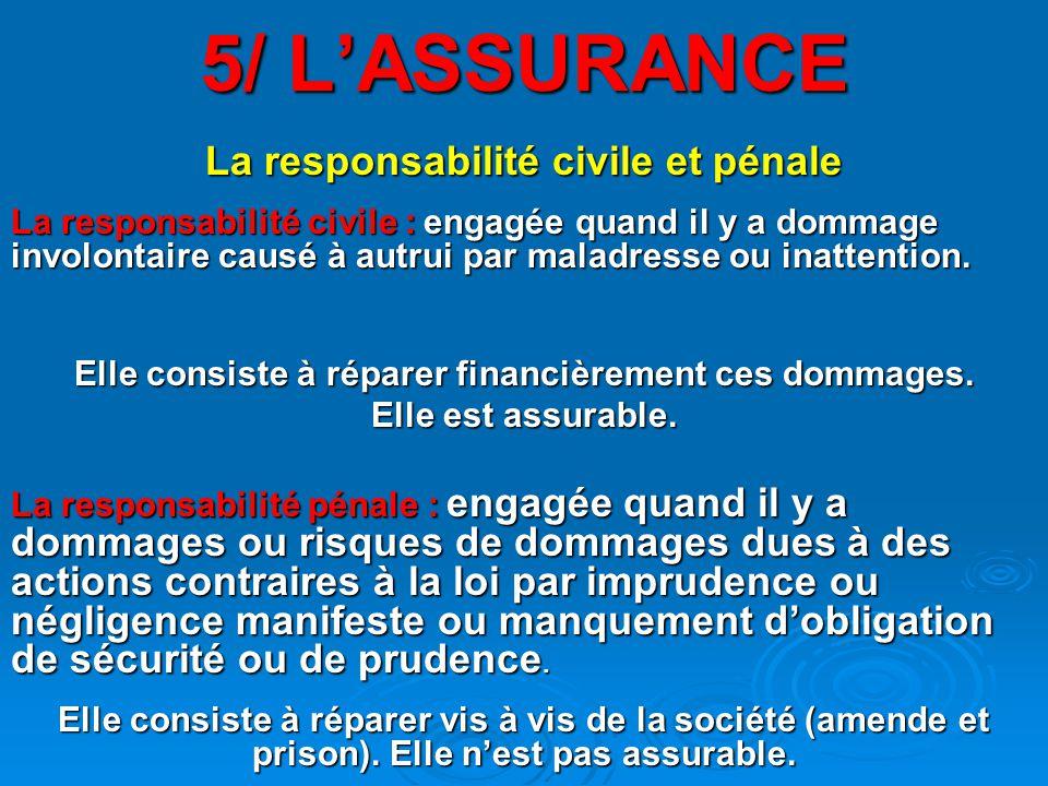 5/ L'ASSURANCE La responsabilité civile et pénale La responsabilité civile : engagée quand il y a dommage involontaire causé à autrui par maladresse ou inattention.