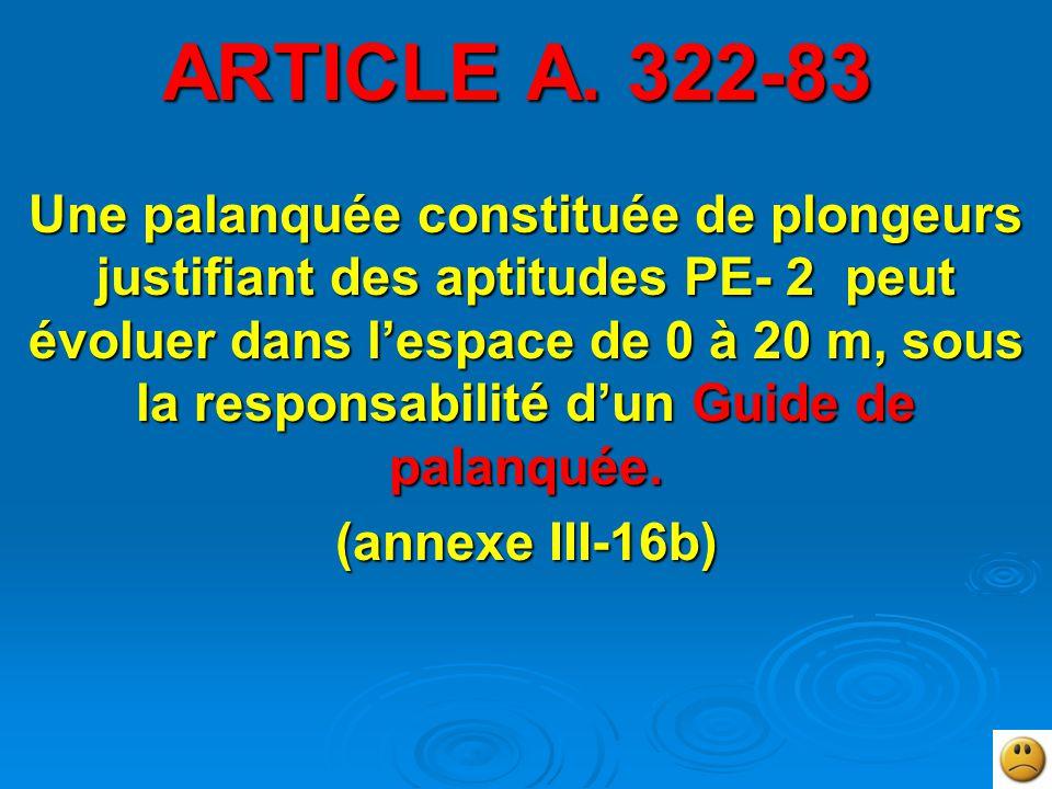 ARTICLE A. 322-83 Une palanquée constituée de plongeurs justifiant des aptitudes PE- 2 peut évoluer dans l'espace de 0 à 20 m, sous la responsabilité