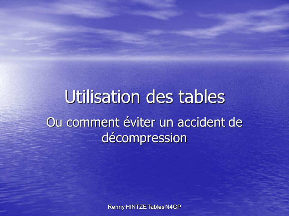 Renny HINTZE Tables N4GP Utilisation des tables Ou comment éviter un accident de décompression