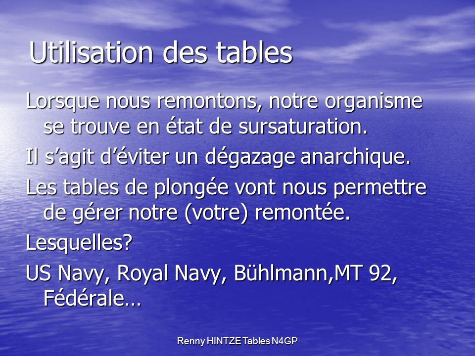 Renny HINTZE Tables N4GP Utilisation des tables Lorsque nous remontons, notre organisme se trouve en état de sursaturation.