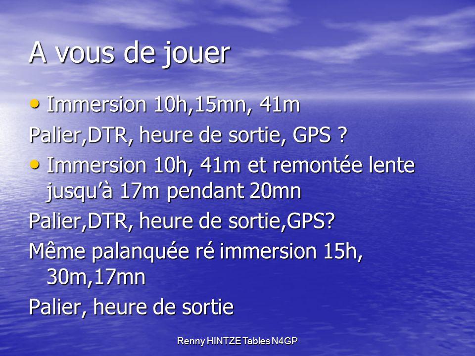 Renny HINTZE Tables N4GP A vous de jouer Immersion 10h,15mn, 41m Immersion 10h,15mn, 41m Palier,DTR, heure de sortie, GPS .