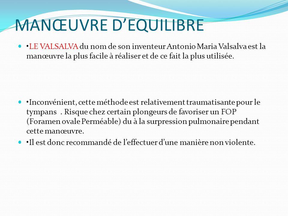 MANŒUVRE D'EQUILIBRE LE VALSALVA du nom de son inventeur Antonio Maria Valsalva est la manœuvre la plus facile à réaliser et de ce fait la plus utilisée.