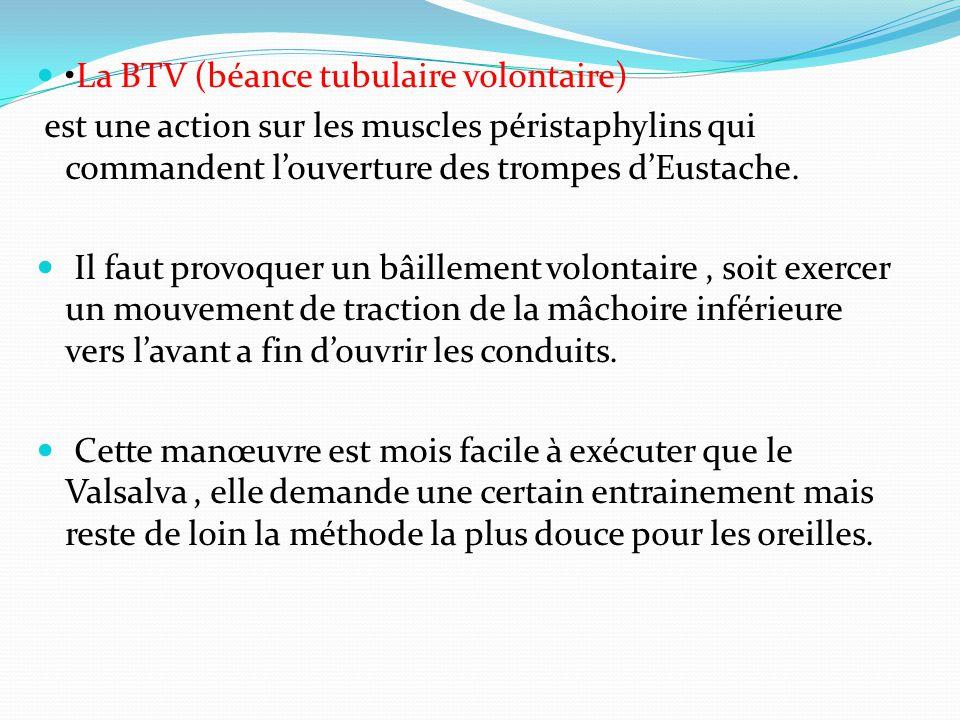 La BTV (béance tubulaire volontaire) est une action sur les muscles péristaphylins qui commandent l'ouverture des trompes d'Eustache.