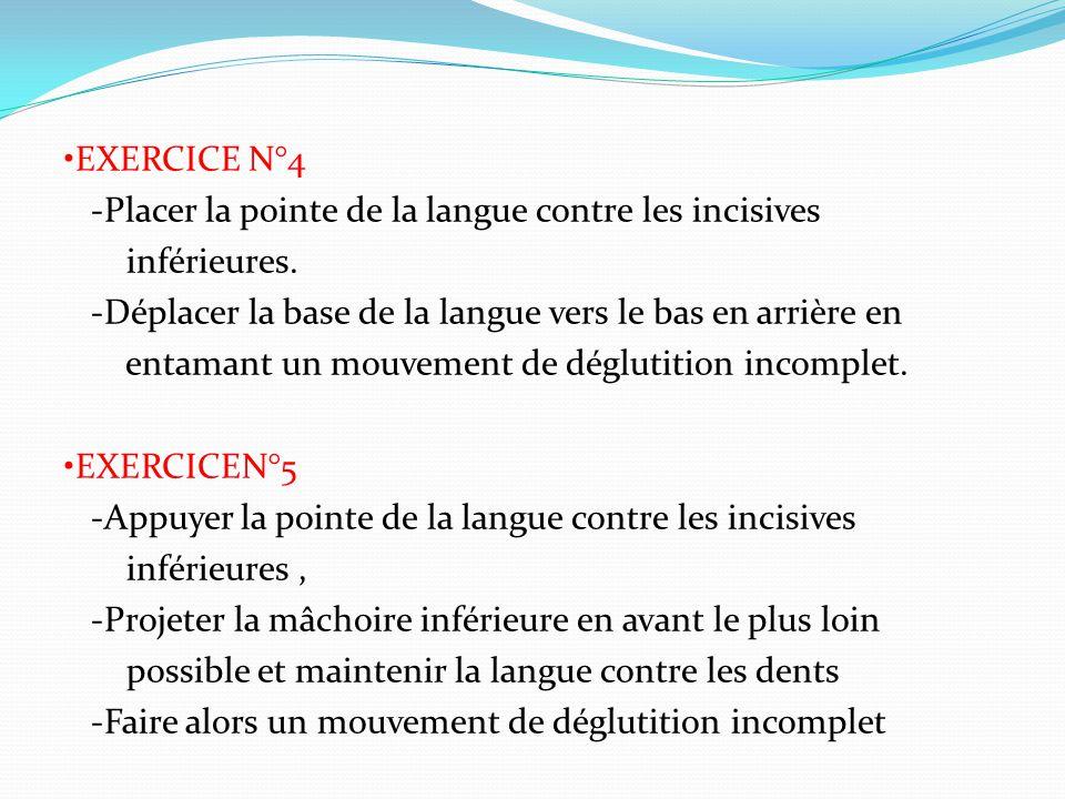 EXERCICE N°4 -Placer la pointe de la langue contre les incisives inférieures.