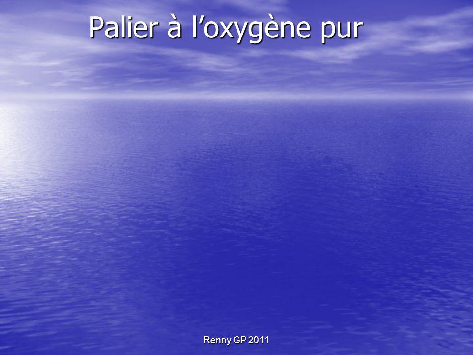 Renny GP 2011 Palier à l'oxygène pur Avantage Diminution du temps de palier Moindre fatigue Inconvénients Matériel dédié Procédure particulière (f) du niveau Risque hyperoxique Coût