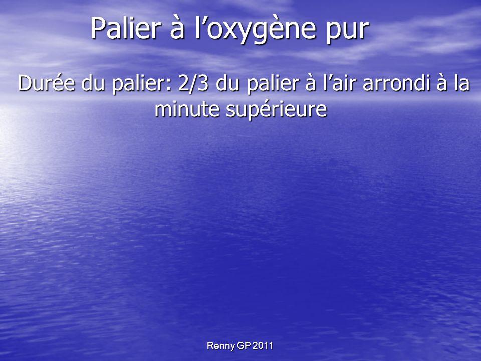 Renny GP 2011 Palier à l'oxygène pur Durée du palier: 2/3 du palier à l'air arrondi à la minute supérieure Durée du palier: 2/3 du palier à l'air arrondi à la minute supérieure Applicable si la durée du palier est > ou = à 5 minutes