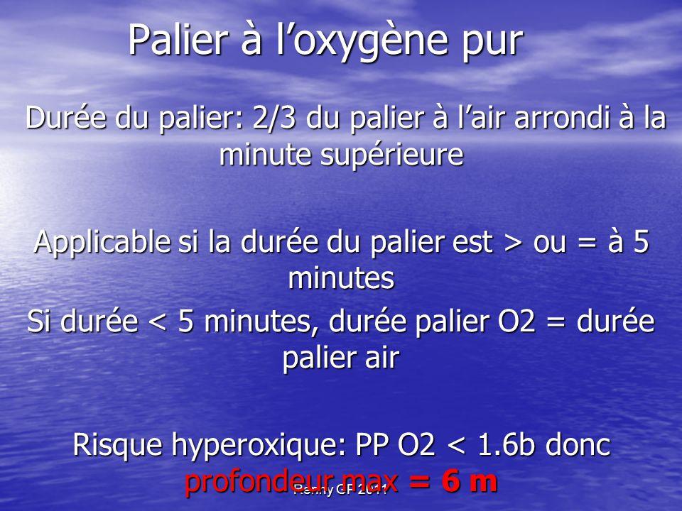 Renny GP 2011 Palier à l'oxygène pur Durée du palier: 2/3 du palier à l'air arrondi à la minute supérieure Durée du palier: 2/3 du palier à l'air arrondi à la minute supérieure Applicable si la durée du palier est > ou = à 5 minutes Si durée < 5 minutes, durée palier O2 = durée palier air Risque hyperoxique: PP O2 < 1.6b donc profondeur max = 6 m GPS inchangé