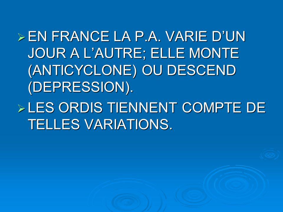  EN FRANCE LA P.A. VARIE D'UN JOUR A L'AUTRE; ELLE MONTE (ANTICYCLONE) OU DESCEND (DEPRESSION).  LES ORDIS TIENNENT COMPTE DE TELLES VARIATIONS.
