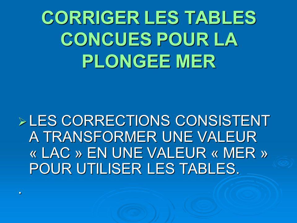 CORRIGER LES TABLES CONCUES POUR LA PLONGEE MER  LES CORRECTIONS CONSISTENT A TRANSFORMER UNE VALEUR « LAC » EN UNE VALEUR « MER » POUR UTILISER LES
