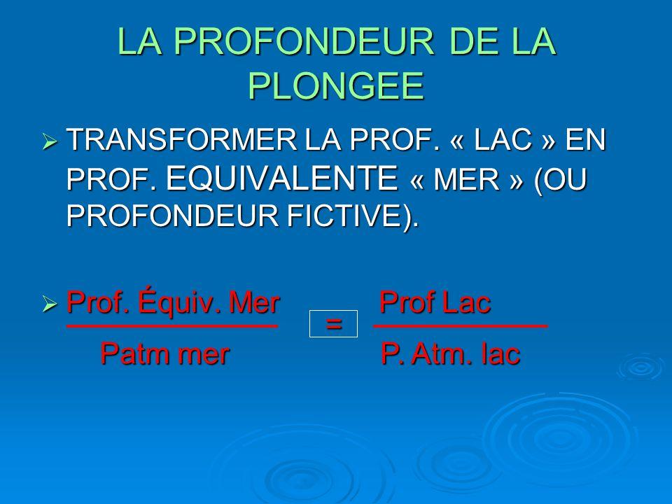 LA PROFONDEUR DE LA PLONGEE  TRANSFORMER LA PROF. « LAC » EN PROF. EQUIVALENTE « MER » (OU PROFONDEUR FICTIVE).  Prof. Équiv. Mer Prof Lac P. Atm. l