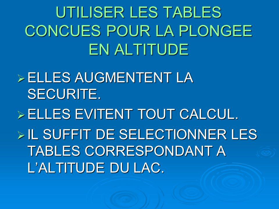 UTILISER LES TABLES CONCUES POUR LA PLONGEE EN ALTITUDE  ELLES AUGMENTENT LA SECURITE.  ELLES EVITENT TOUT CALCUL.  IL SUFFIT DE SELECTIONNER LES T