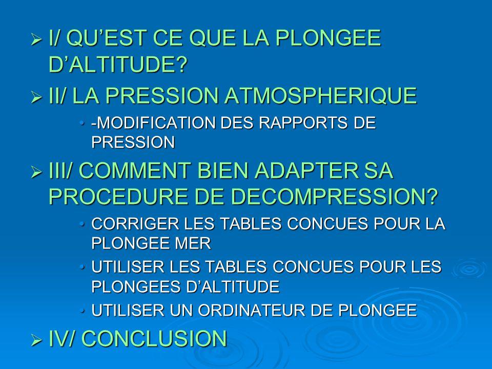  I/ QU'EST CE QUE LA PLONGEE D'ALTITUDE?  II/ LA PRESSION ATMOSPHERIQUE -MODIFICATION DES RAPPORTS DE PRESSION-MODIFICATION DES RAPPORTS DE PRESSION