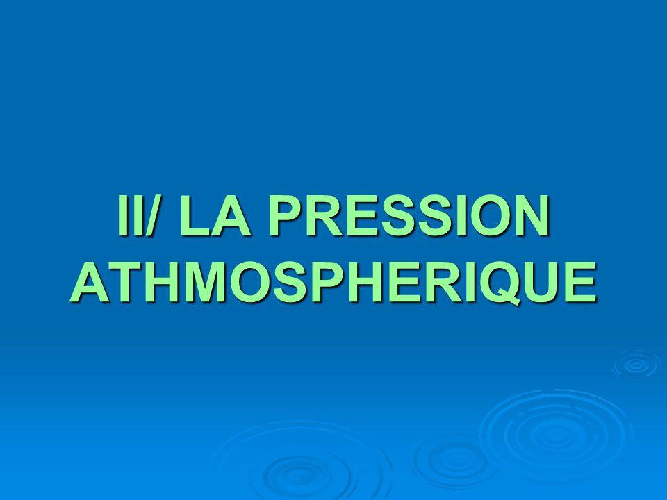 II/ LA PRESSION ATHMOSPHERIQUE