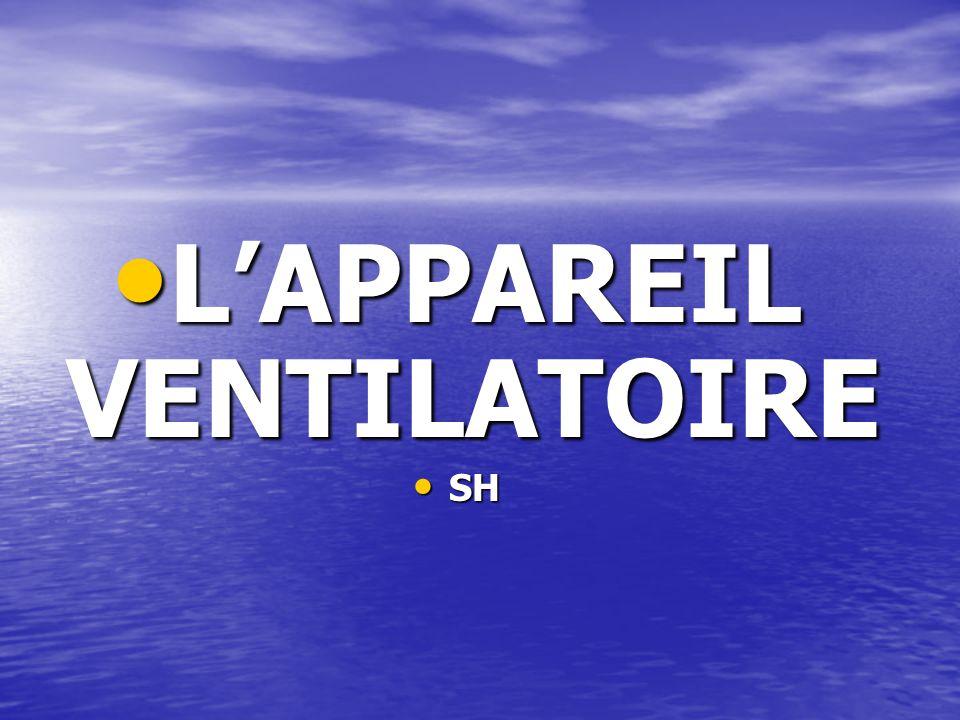 L'APPAREIL VENTILATOIRE L'APPAREIL VENTILATOIRE SH SH