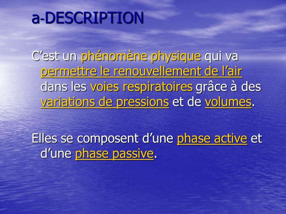 a - DESCRIPTION C'est un phénomène physique qui va permettre le renouvellement de l'air dans les voies respiratoires grâce à des variations de pressio