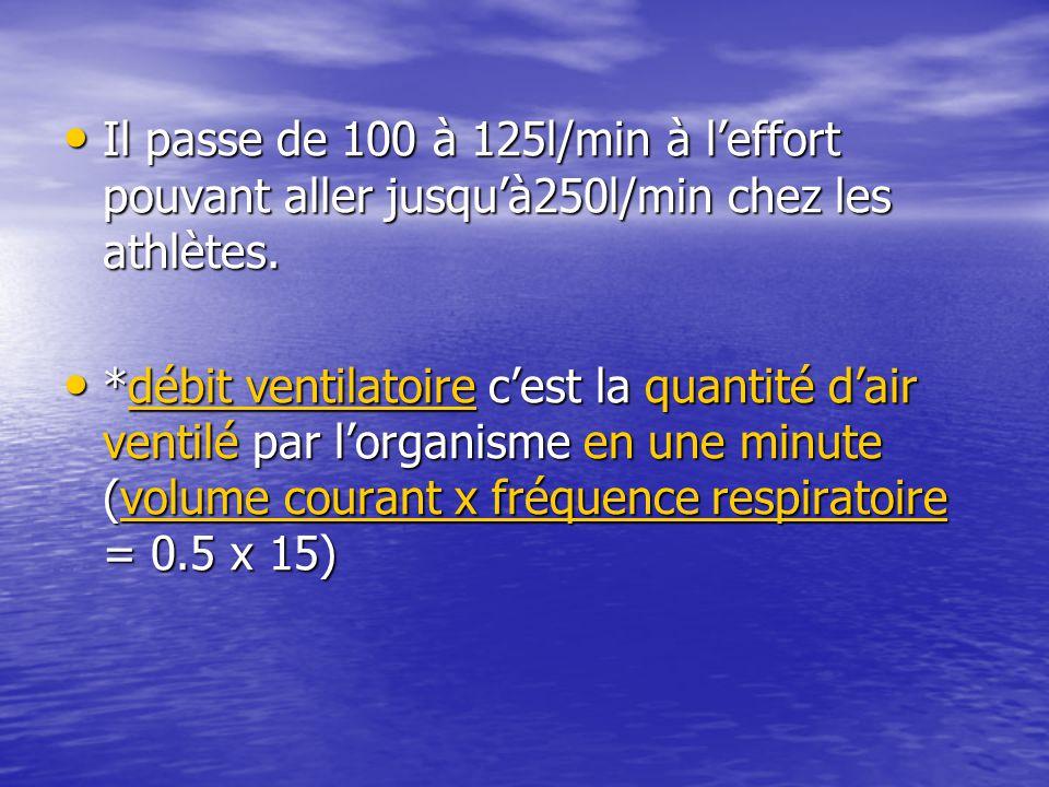 Il passe de 100 à 125l/min à l'effort pouvant aller jusqu'à250l/min chez les athlètes. Il passe de 100 à 125l/min à l'effort pouvant aller jusqu'à250l