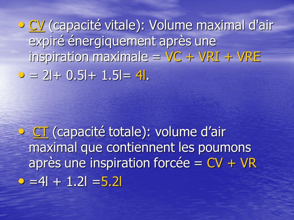 CV (capacité vitale): Volume maximal d'air expiré énergiquement après une inspiration maximale = VC + VRI + VRE CV (capacité vitale): Volume maximal d