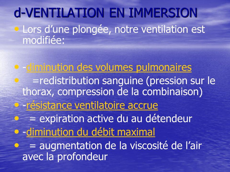 d-VENTILATION EN IMMERSION Lors d'une plongée, notre ventilation est modifiée: -diminution des volumes pulmonaires =redistribution sanguine (pression