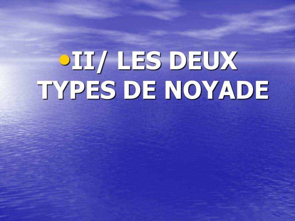 II/ LES DEUX TYPES DE NOYADE II/ LES DEUX TYPES DE NOYADE