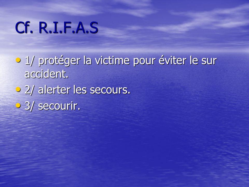 Cf. R.I.F.A.S 1/ protéger la victime pour éviter le sur accident. 1/ protéger la victime pour éviter le sur accident. 2/ alerter les secours. 2/ alert