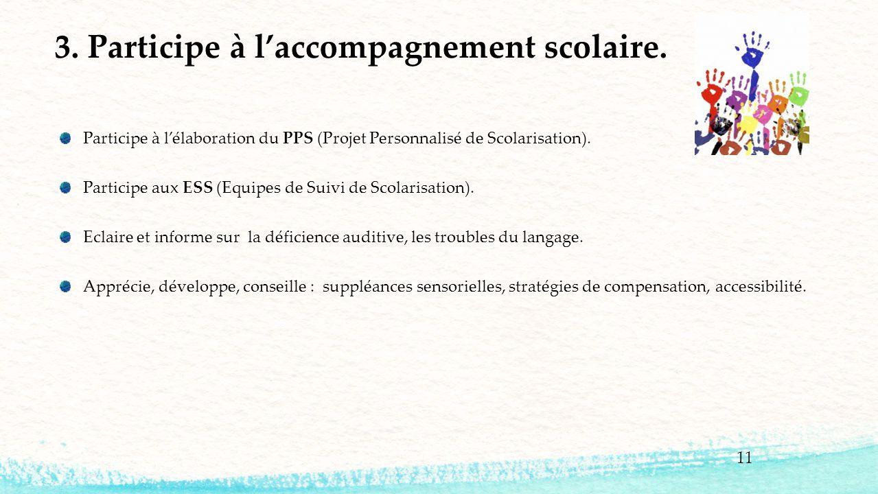 Participe à l'élaboration du PPS (Projet Personnalisé de Scolarisation). Participe aux ESS (Equipes de Suivi de Scolarisation). Eclaire et informe sur