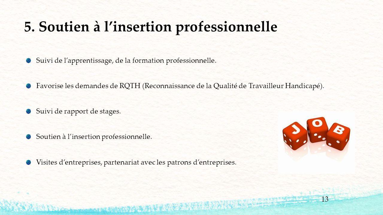 13 5. Soutien à l'insertion professionnelle Suivi de l'apprentissage, de la formation professionnelle. Favorise les demandes de RQTH (Reconnaissance d