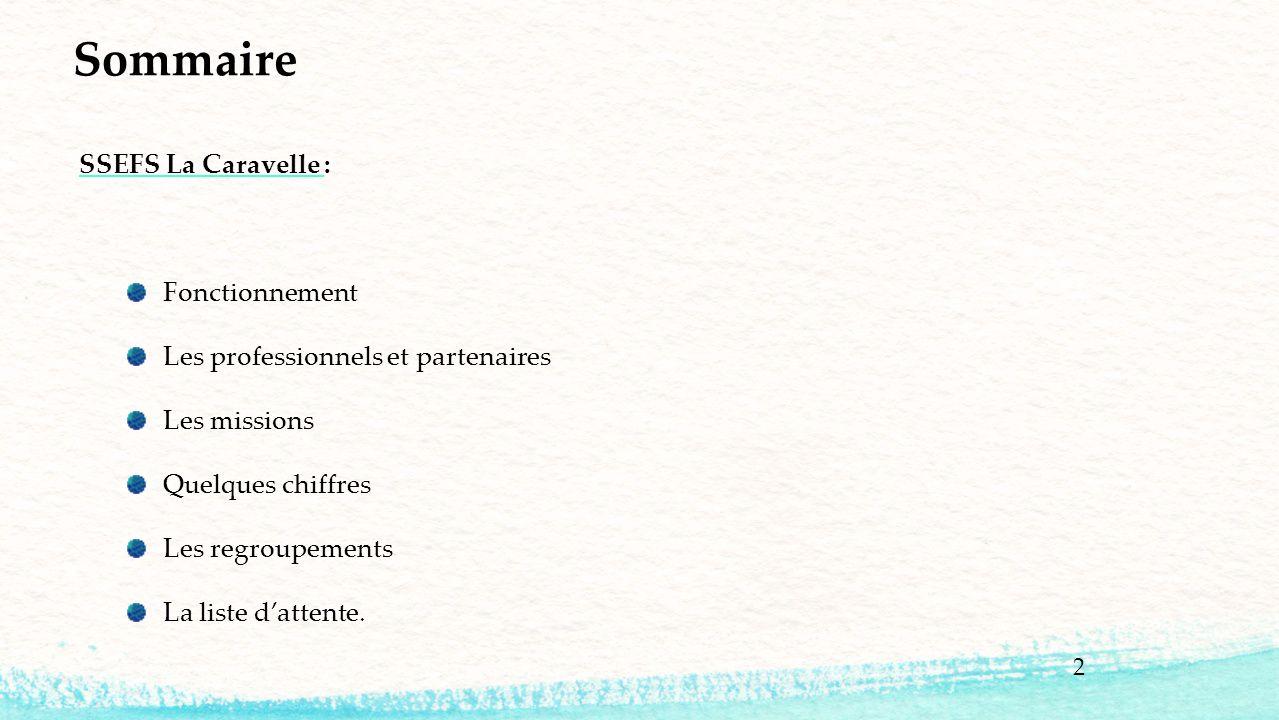 2 Sommaire SSEFS La Caravelle : Fonctionnement Les professionnels et partenaires Les missions Quelques chiffres Les regroupements La liste d'attente.
