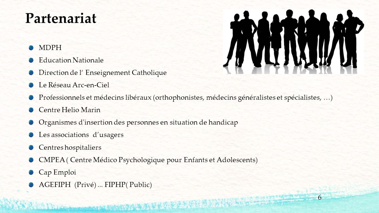 6 MDPH Education Nationale Direction de l' Enseignement Catholique Le Réseau Arc-en-Ciel Professionnels et médecins libéraux (orthophonistes, médecins