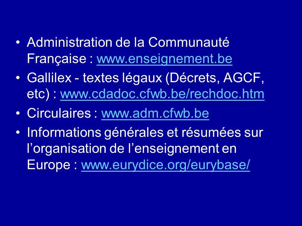 Administration de la Communauté Française : www.enseignement.bewww.enseignement.be Gallilex - textes légaux (Décrets, AGCF, etc) : www.cdadoc.cfwb.be/