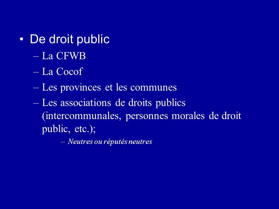 De droit public –La CFWB –La Cocof –Les provinces et les communes –Les associations de droits publics (intercommunales, personnes morales de droit pub