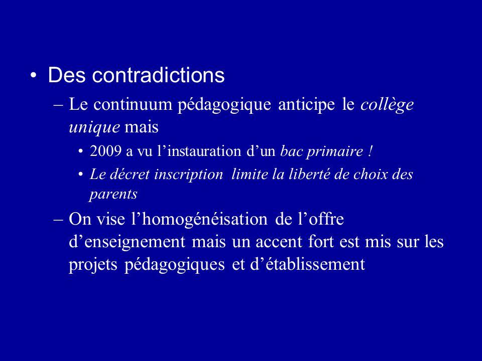 Des contradictions –Le continuum pédagogique anticipe le collège unique mais 2009 a vu l'instauration d'un bac primaire ! Le décret inscription limite