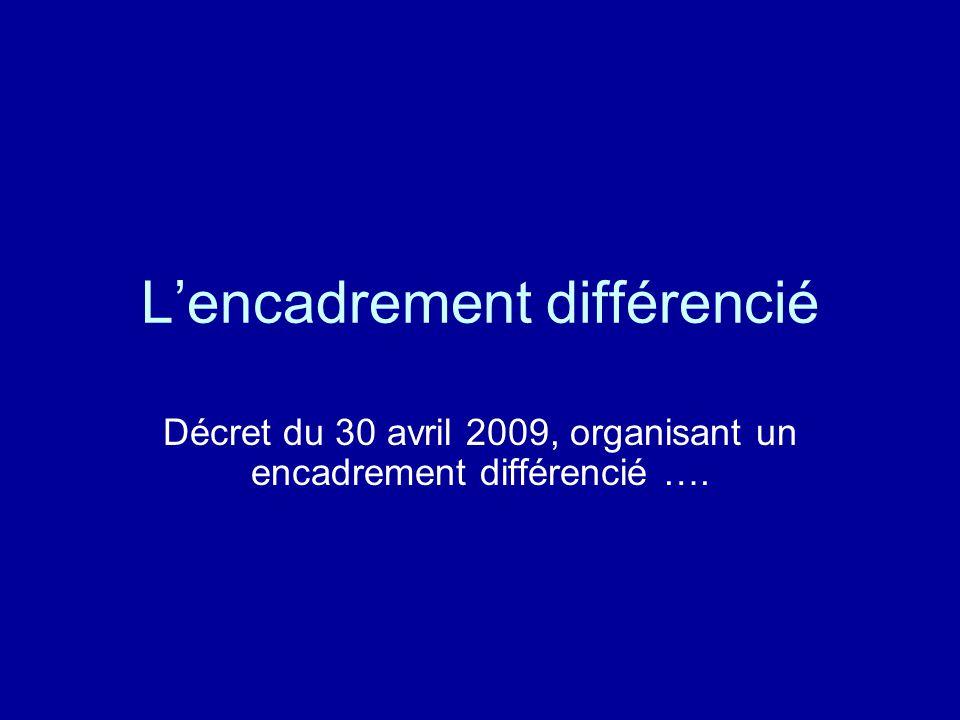 L'encadrement différencié Décret du 30 avril 2009, organisant un encadrement différencié ….